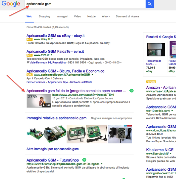Thumb Video in Serp Google - apricancello gsm