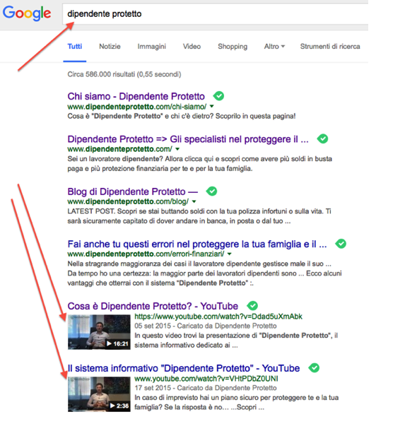 Thumb Video in Serp Google -  brand - dipendente protetto