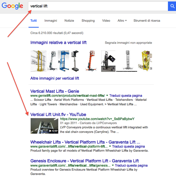 Thumb Video in Serp Google - vertical lift